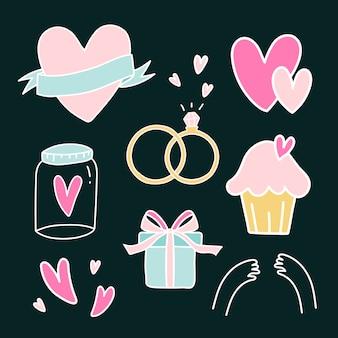 Set di simboli di amore vettoriale