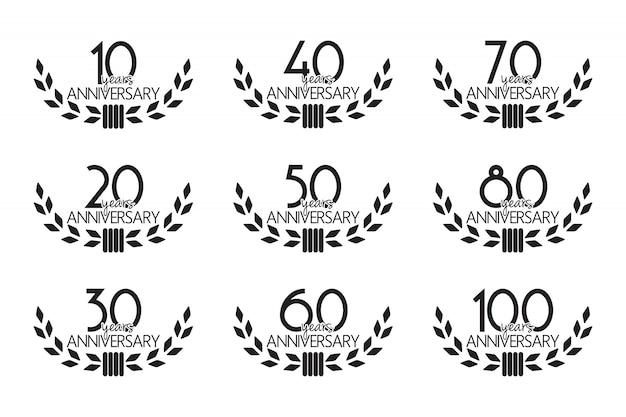 Set di simboli di anniversario