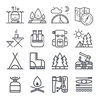Set di simboli di attrezzatura da campeggio