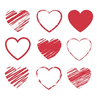 Set di simboli di cuori rossi isolato su sfondo bianco
