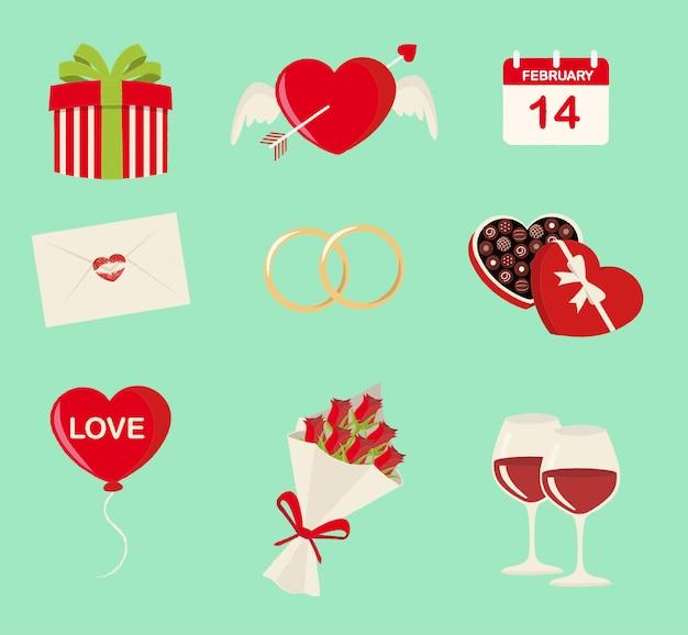 Set di simboli di nove san valentino