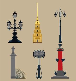 Set di simboli di san pietroburgo.