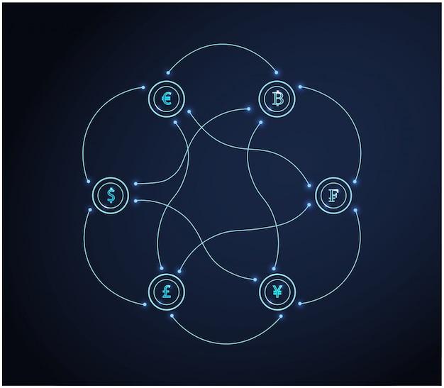 Set di simboli di valuta. concetto di affari di finanza