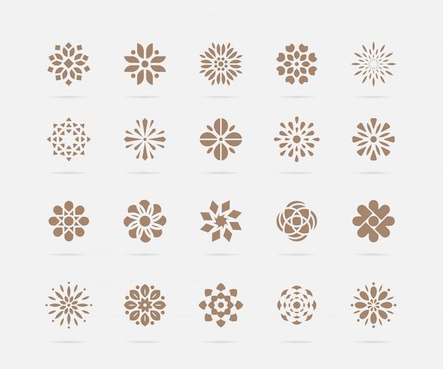 Set di simboli dorati fiore astratto