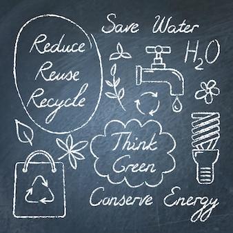Set di simboli e scritte ecologia lavagna