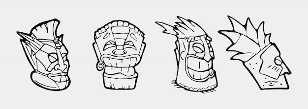 Set di simboli faccia totem disegnati a mano