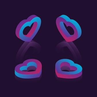 Set di simboli isometrici del cuore con sfumature al neon su sfondo scuro. san valentino futuristico