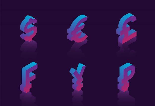Set di simboli isometrici di varie valute su sfondo scuro