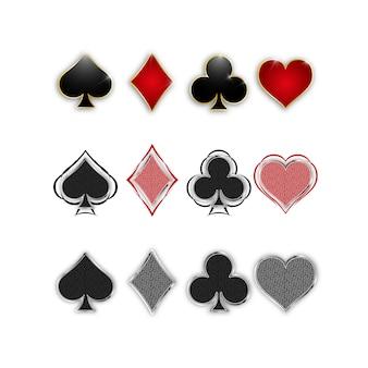 Set di simboli mazzo di carte per giocare a poker e casinò.