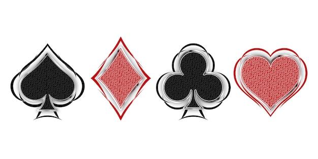 Set di simboli mazzo di carte