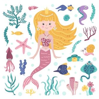 Set di simpatiche sirene, alghe e abitanti marini