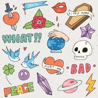 Set di simpatici adesivi, graffiti doodle, patch moda