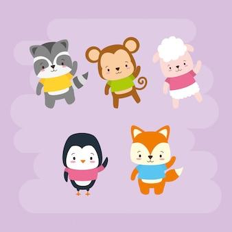 Set di simpatici animali, cartoni animati e stile piano, illustrazione