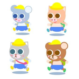 Set di simpatici animali colorati cartoon andare a scuola