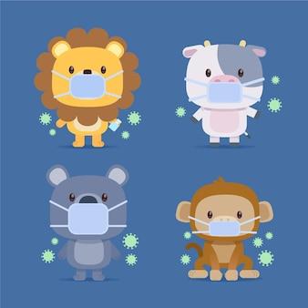 Set di simpatici animali con maschere mediche