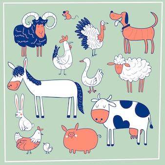Set di simpatici animali da fattoria. disegnato a mano di vettore