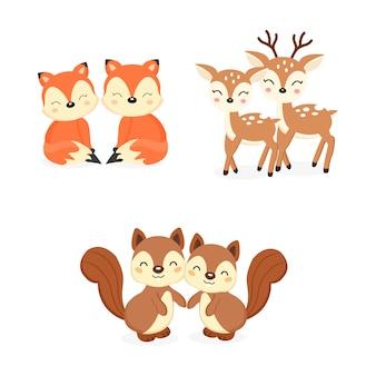 Set di simpatici animali del bosco coppia. cartone animato di volpi, cervi, scoiattoli.