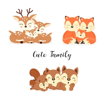 Set di simpatici animali della foresta di famiglia. cartone animato di volpi, cervi, scoiattoli.
