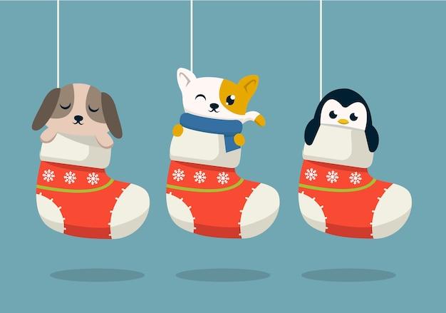 Set di simpatici animali in calze illustrazione di design di natale