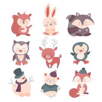 Set di simpatici animali natalizi in vestiti caldi.