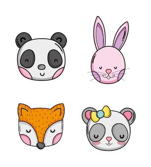 Set di simpatici cartoni animati di animali
