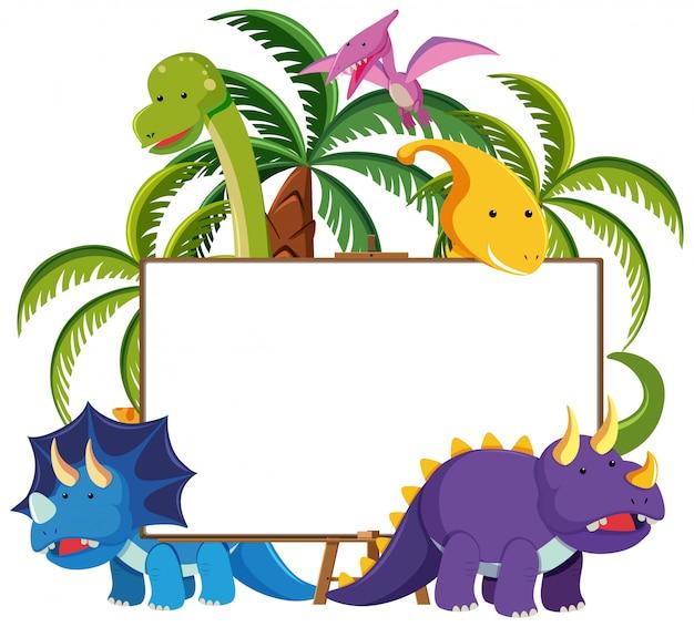 Set di simpatici dinosauri con banner bianco isolato su sfondo bianco