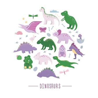 Set di simpatici dinosauri con nuvole, uova, ossa, uccelli per bambini incorniciati in cerchio. concetto di personaggi dei cartoni animati piatto dino. illustrazione di rettili preistorici carino.