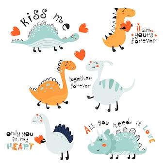 Set di simpatici dinosauri