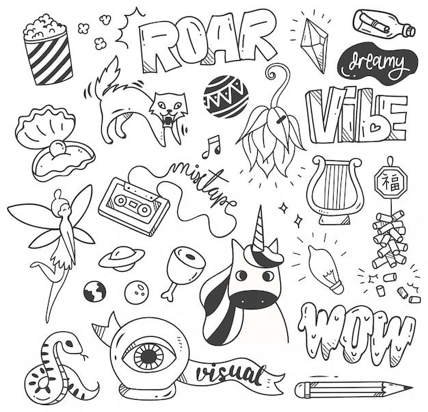 Set di simpatici doodle per la stampa e il modello