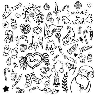 Set di simpatici elementi disegnati a mano di natale, capodanno e inverno isolati su priorità bassa bianca