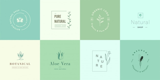 Set di simpatici logo naturali e biologici per il branding