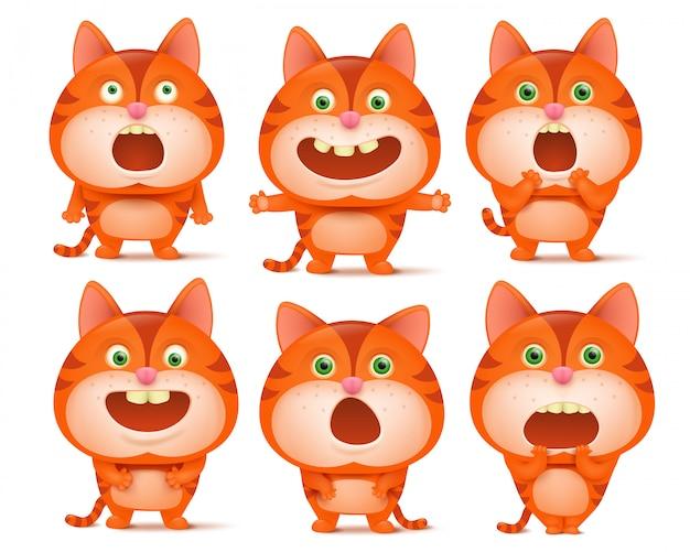 Set di simpatici personaggi dei cartoni animati di gatto arancione in varie pose.