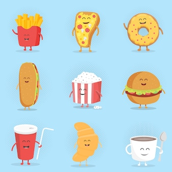 Set di simpatici personaggi dei cartoni animati fast food