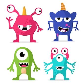 Set di simpatici personaggi dei mostri