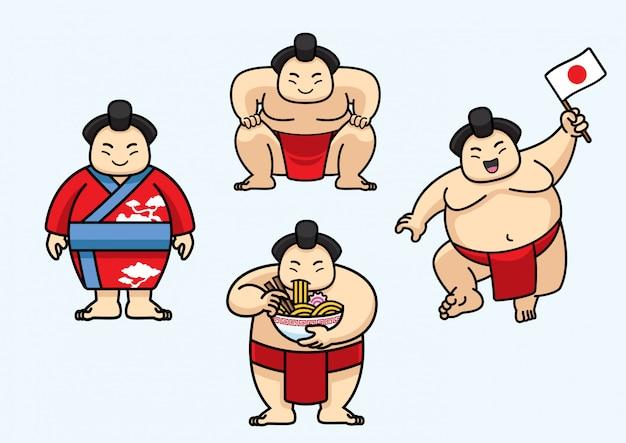 Set di simpatici personaggi di sumo in giappone