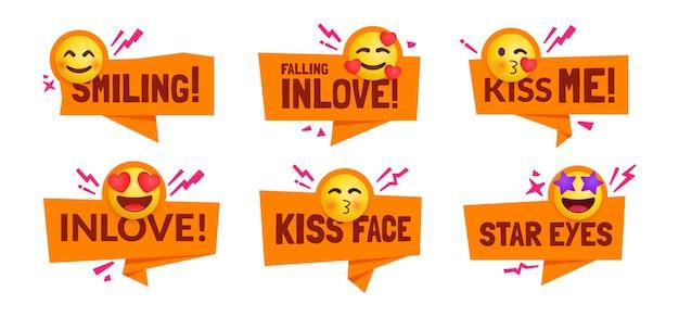 Set di simpatici personaggi emoji che si sentono innamorati delle etichette