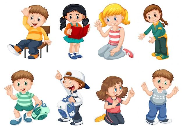 Set di simpatici personaggi per bambini