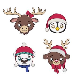 Set di simpatici ritratti di animali invernali