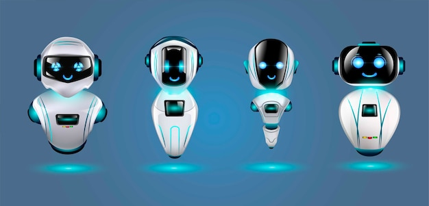 Set di simpatici robot 3d.