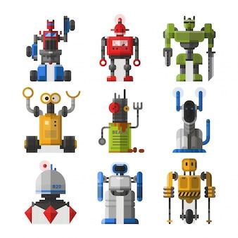 Set di simpatici robot vintage.