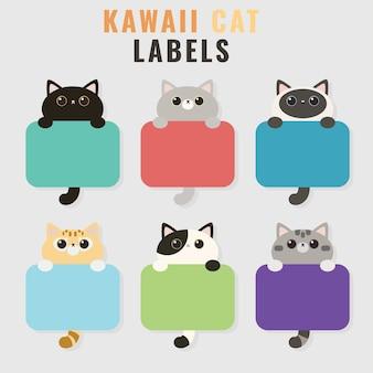 Set di simpatici tag illustrazione gatto o etichette in stile cartone animato