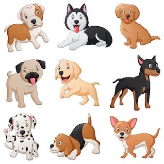 Set di simpatico cartone animato cane. illustrazione