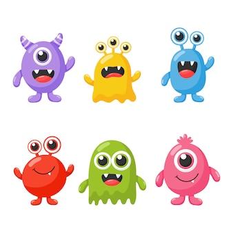 Set di simpatico cartone animato divertente mostro isolato su sfondo bianco.