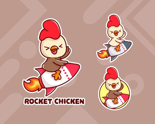 Set di simpatico logo mascotte pollo razzo con aspetto opzionale.
