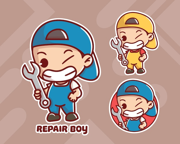 Set di simpatico logo mascotte ragazzo di riparazione con aspetto opzionale.