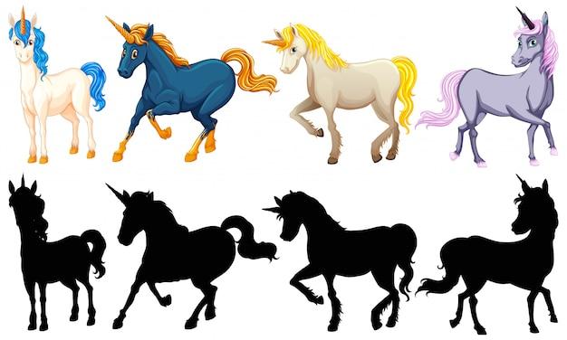 Set di simpatico personaggio dei cartoni animati di unicorno