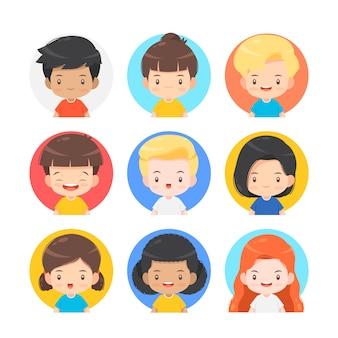 Set di simpatico personaggio dei cartoni animati per avatar