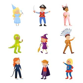 Set di simpatico personaggio di bambini sorridenti in diversi vestiti di festa
