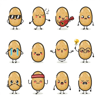 Set di simpatico personaggio di patate in diverse emozioni di azione