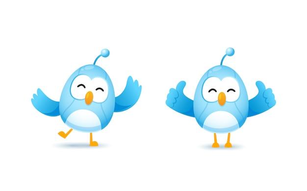 Set di simpatico personaggio di robot uccello in felice e mostrare il pollice in posa
